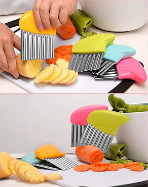 1pc French Fries Cutter Stainless Steel Potato Chips Making Peeler Cut Plastic Handle Vegetable Kitchen Knives Fruit Tool