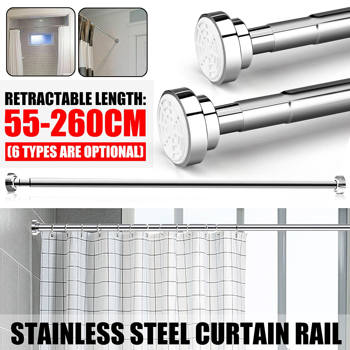 50CM-150CM Shower Curtain Rod Curtain Pole Adjustable Stainless Steel Spring Tension Rod Rail for Clothes / Towels / Curtains