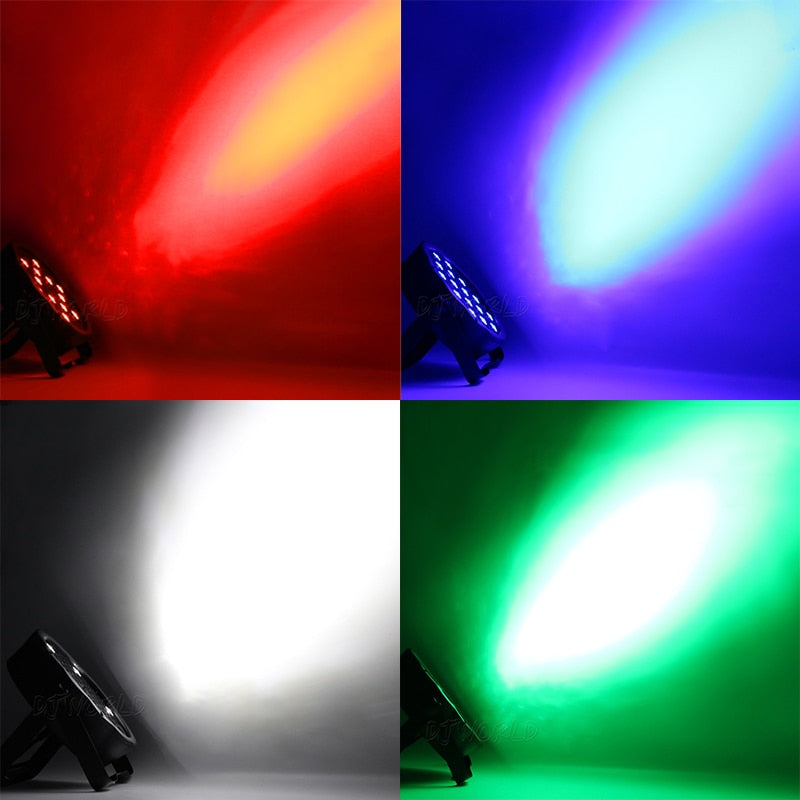 LED Flat Par 54x3W RGB Color Lighting Strobe DMX Controller For Disco DJ Music Party Club Dance Floor Bar Darkening Stage Light