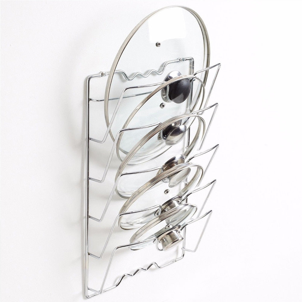 Anti-fall Metal Drying Pan Pot Rack Cover Lid Rest Stand Spoon Holder Holder Kitchen Tool 5 Layer