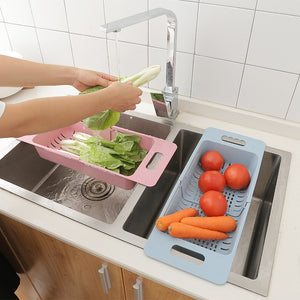 Adjustable Dish Drainer Sink Drain Basket Washing Vegetable Fruit Plastic Drying Rack Kitchen Accessories Organizer