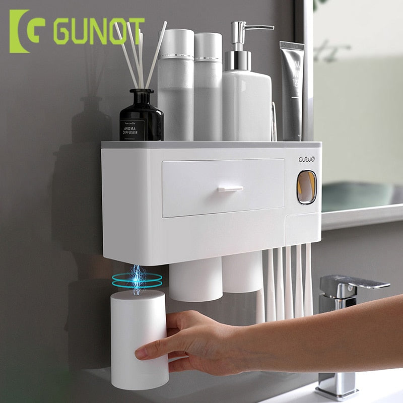 Magnetic Toothbrush Holder Automatic Toothpaste Squeezer Dispenser Wall Mount Storage Rack Bathroom Accessories