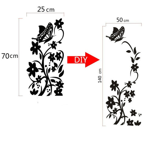 Creative butterfly flower refrigerator wallpaper home decoration mural DIY art decal children's room kitchen sticker