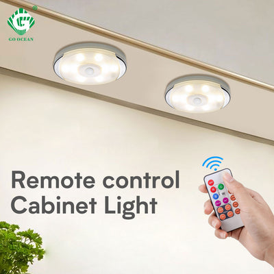 Dimmable RGB Battery LED Puck Lights Remote Control Touch Under Cabinet Light Kitchen Wardrobe Closet Bedroom Timer Smart Lamp