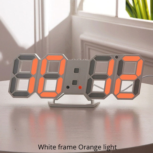 3D LED Wall Clock Modern Design Digital Table Clock Alarm Nightlight Watch For Home Living Room Decoration