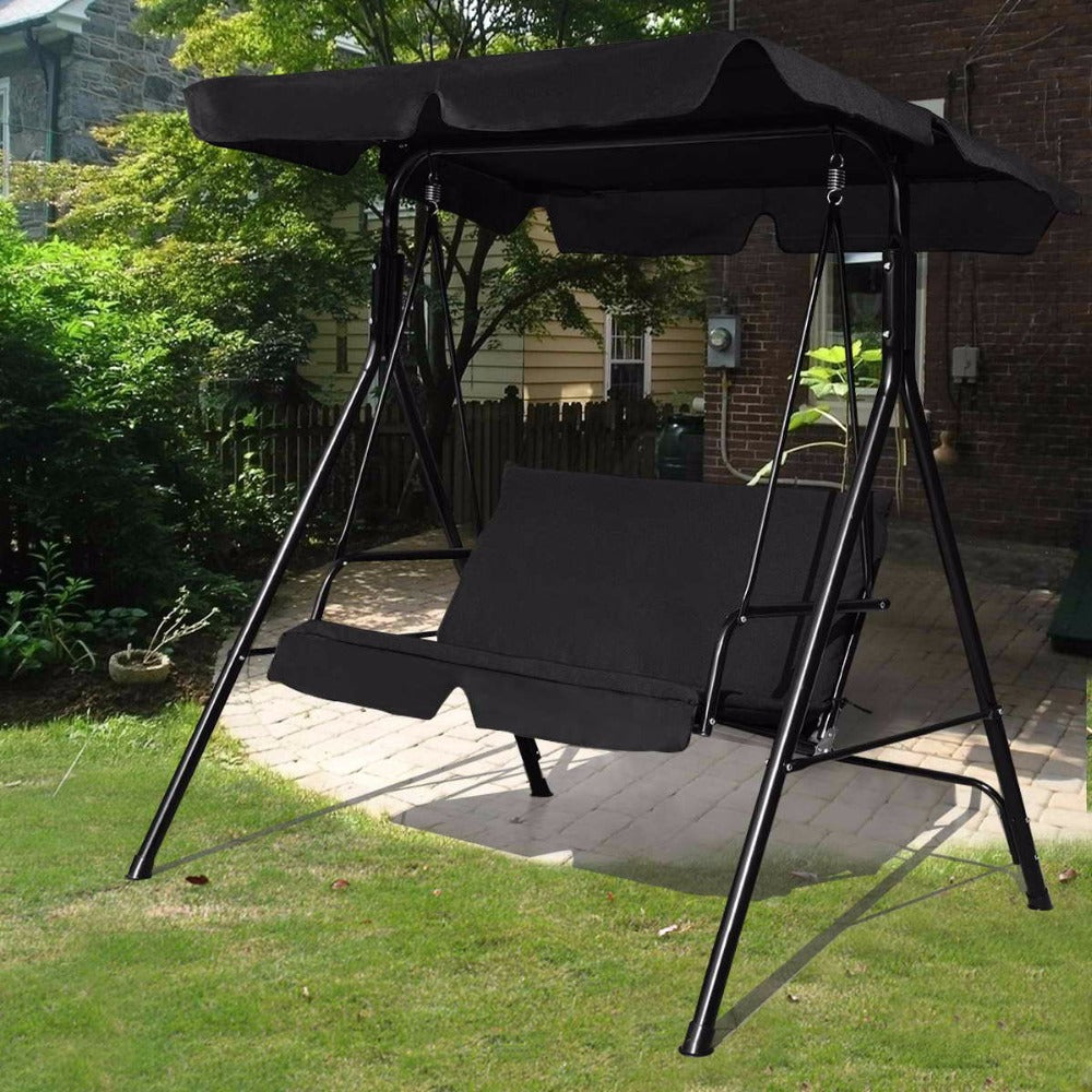 Loveseat Patio Canopy Swing Glider Hammock Cushioned Steel Frame Bench Outdoor Patio Swing Garden Furniture
