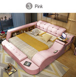 Hot sales Genuine Leather Bed Frame Soft Beds Massager Storage Safe for Bedroom Comfort