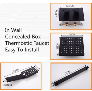 Thermostatic Bathroom Rainfall Shower Faucet In Wall Black Bathroom Faucet Set Thermostatic Mixer With 8 Inch Rainfall Shower