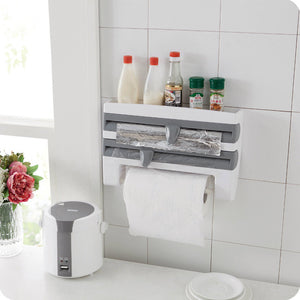 Plastic Refrigerator Cling Film Storage Rack Shelf Wrap Cutting Wall Hanging Paper Towel Holder Kitchen Accessories TB S