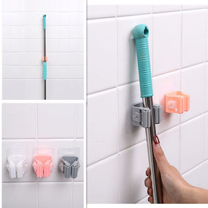 Broom Holder Wall Mounted Mop Holder Household Adhesive Storage Broom Hanger Mop Hook Racks