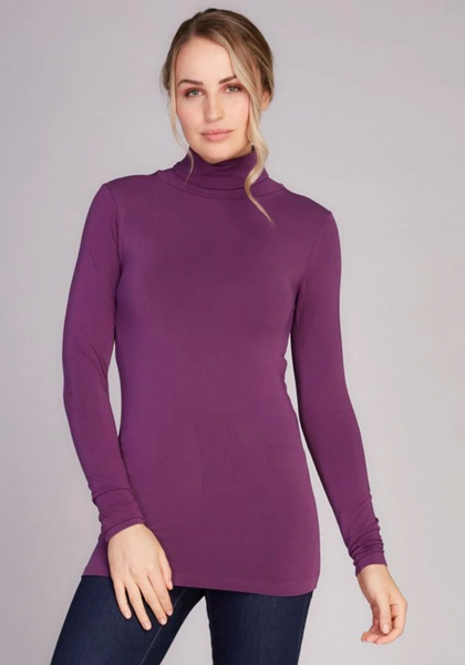 c'est moi bamboo seamless women's clothing line. cest moi seamless clothing. best basics. best bamboo Turtle neck in Purple