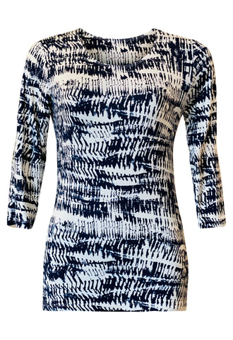 L&B Scoop top in 3/4 Sleeve- Navy print