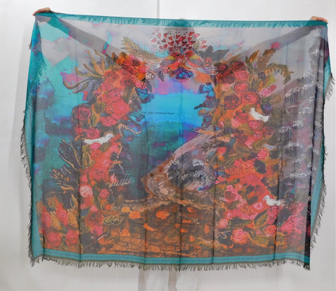 LOVE's PURE- Stunning Silk/Model Scarf in Promise Land