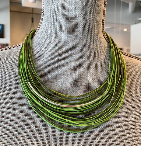 Moth Waxed Linen Green/Chartreuse Necklace