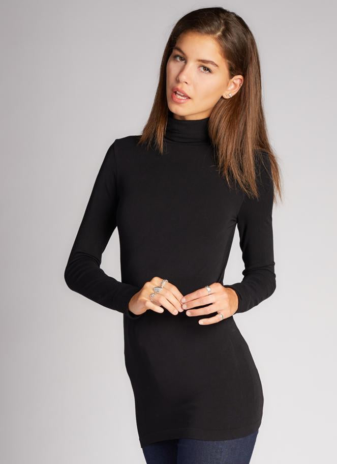c'est moi bamboo seamless women's clothing line. cest moi seamless clothing. best basics. best bamboo Turtle neck in Black