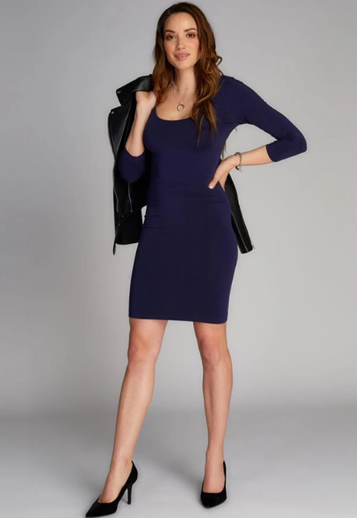 C'est Moi Bamboo 3/4 Sleeve Dress in Navy