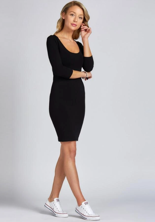 C'est Moi Bamboo 3/4 Sleeve Dress in Blk