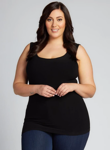 c'est moi bamboo seamless women's clothing line. cest moi seamless clothing. best basics. best Bamboo PLUS size  Tank top in  Black