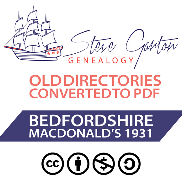 Macdonald's 1931 Directory of Bedfordshire on CD - SG Genealogy