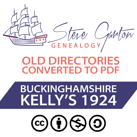 Kelly's 1924 Directory of Buckinghamshire on CD