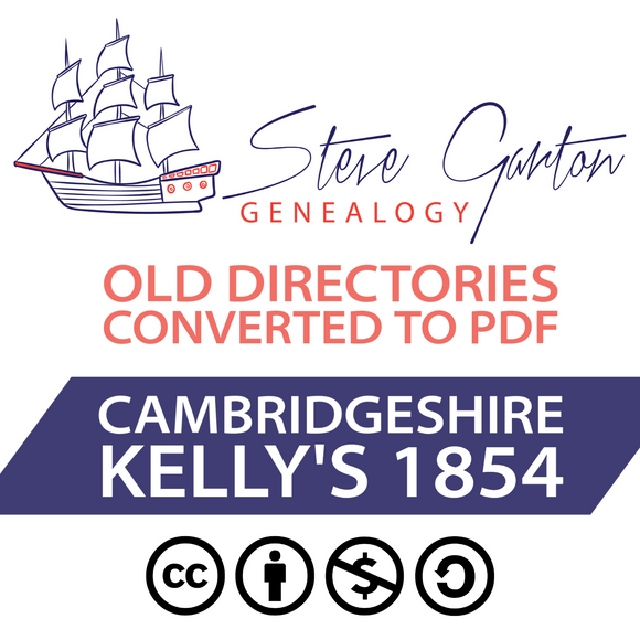 Kelly's 1854 Directory of Cambridgeshire on CD