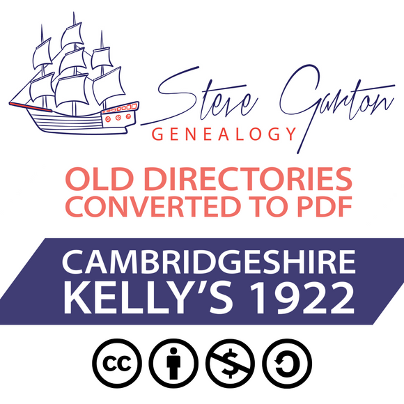Kelly's 1922 Directory of Cambridgeshire on CD - SG Genealogy