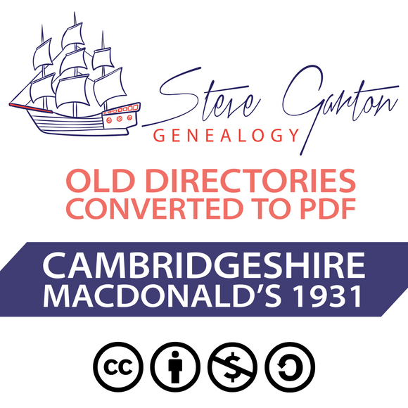 Macdonald's 1931 Directory of Cambridgeshire on CD - SG Genealogy