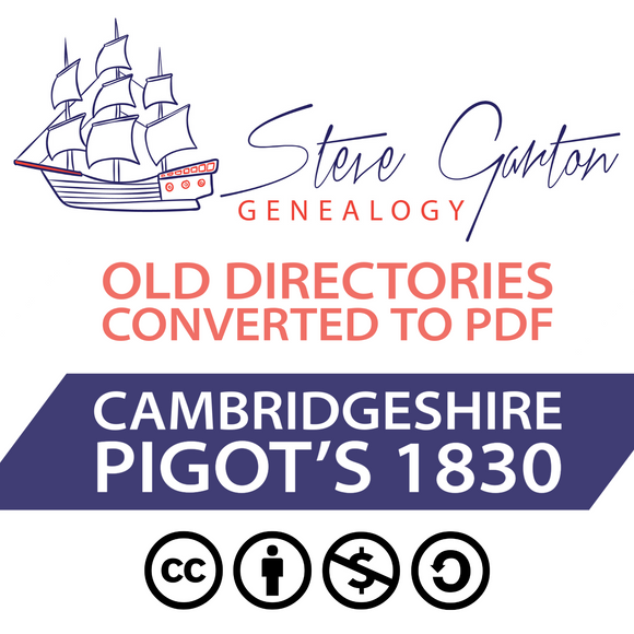 Pigot's 1830 Directory of Cambridgeshire on CD - SG Genealogy