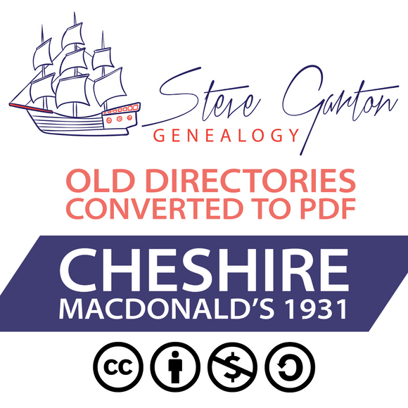 Macdonald's 1931 Directory of Cheshire on CD - SG Genealogy