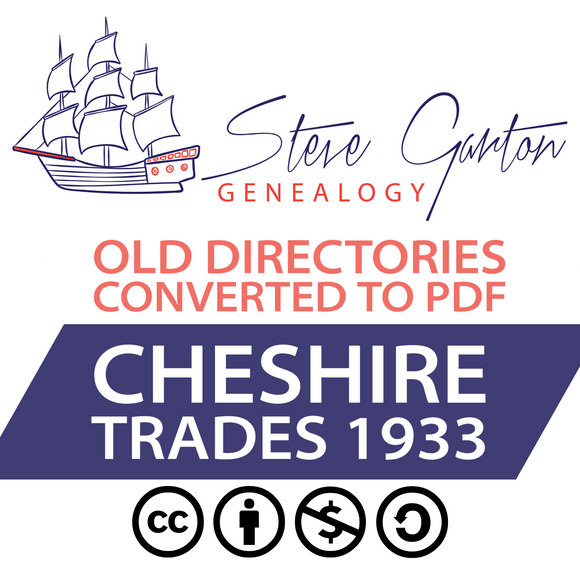 1933 Trades Directory of Cheshire on CD - SG Genealogy