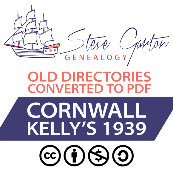 Kelly's 1939 Directory of Cornwall on CD - SG Genealogy