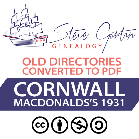 Macdonald's 1931 Directory of Cornwall on CD - SG Genealogy