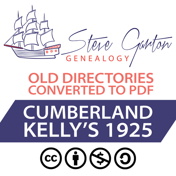 Kelly's 1925 Directory of Cumberland on CD - SG Genealogy