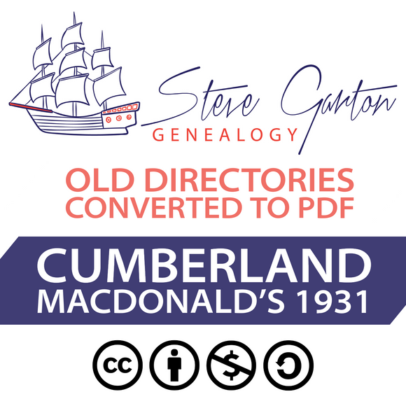 Macdonald's 1931 Directory of Cumberland on CD