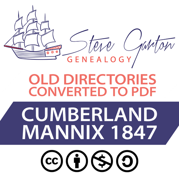 Mannix 1847 Directory of Cumberland on CD - SG Genealogy