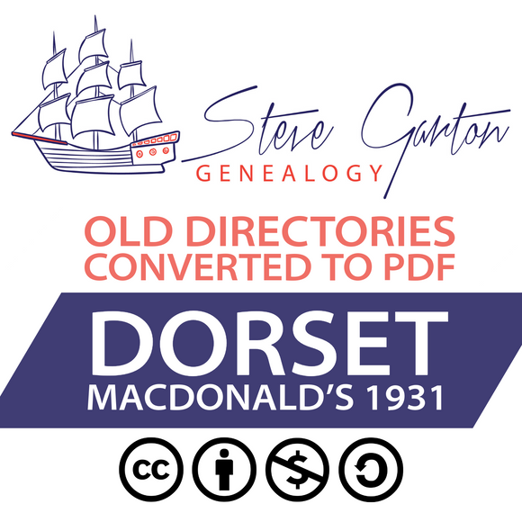 Macdonald's 1931 Directory of Dorset on CD