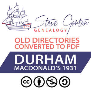 Macdonald's 1931 Directory of Durham on CD