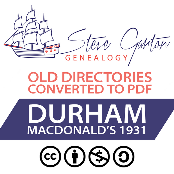 Macdonald's 1931 Directory of Durham on CD - SG Genealogy