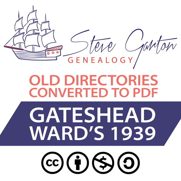Ward's 1939 Directory of Gateshead on CD - SG Genealogy