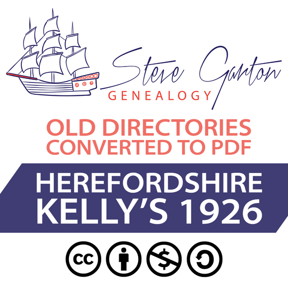 Kelly's 1926 Directory of Herefordshire on CD - SG Genealogy
