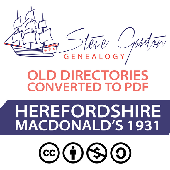 Macdonald's 1931 Directory of Herefordshire on CD - SG Genealogy