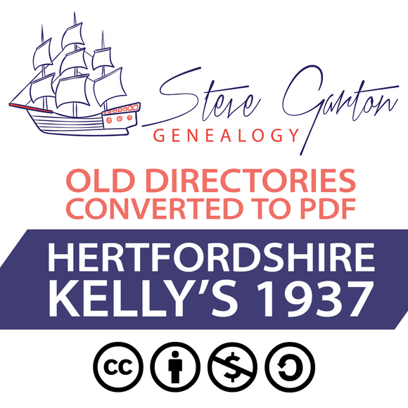 Kelly's 1937 Directory of Hertfordshire on CD