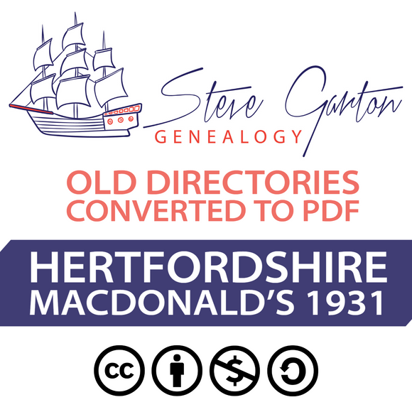 Macdonald's 1931 Directory of Hertfordshire on CD