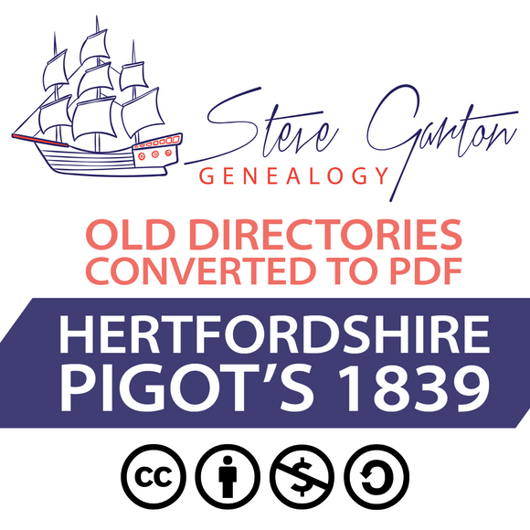 Pigot's 1839 Directory of Hertfordshire on CD