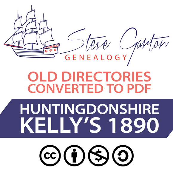 Kelly's 1890 Directory of Huntingdonshire on CD - SG Genealogy