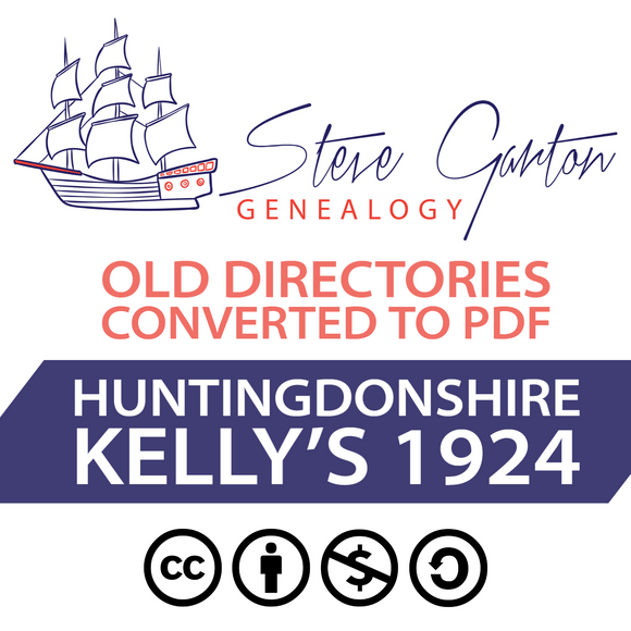 Kelly's 1924 Directory of Huntingdonshire on CD - SG Genealogy