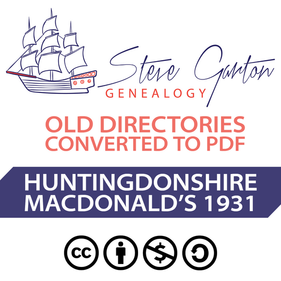 Macdonald's 1931 Directory of Huntingdonshire on CD - SG Genealogy
