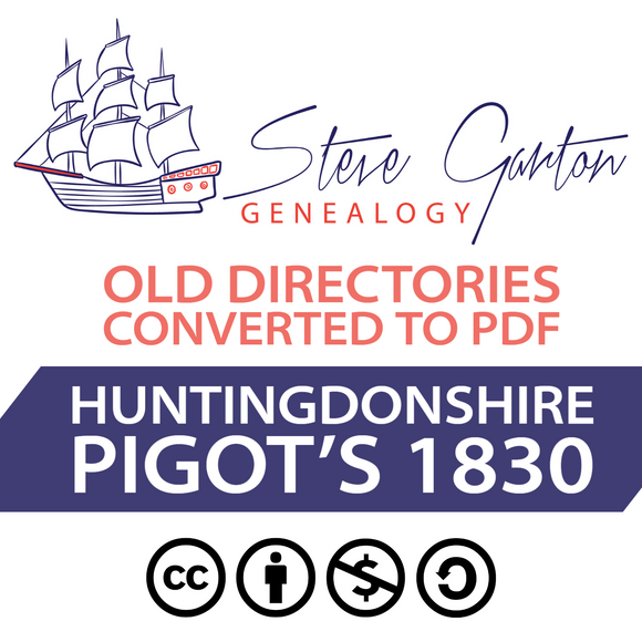 Pigot's 1830 Directory of Huntingdonshire on CD - SG Genealogy