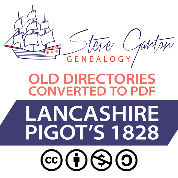 Pigot's 1828 Directory of Lancashire on CD - SG Genealogy