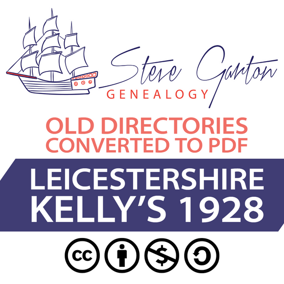 Kelly's 1928 Directory of Leicestershire on CD